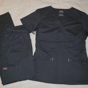 Cherokee Workwear Scrub Set in Charcoal Grey Small